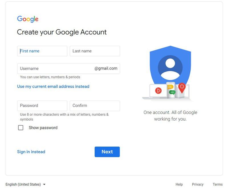 Creating Google Account